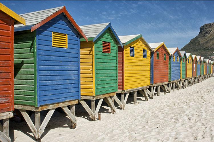 Muizenberg, Kaphalbinsel, Tour, Tagestour, Strand, Umkleidekabinen